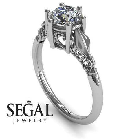 Art deco Leafs Structure Diamond Ring- Reagan no. 3