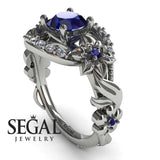 Art Nouveau Flower Engagement Ring - Layla no. 9