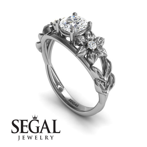 Leaf Flower Engagement Ring - Ella no. 3