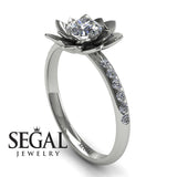 Lotus Flower Classic Engagement Ring - Lotus no. 3