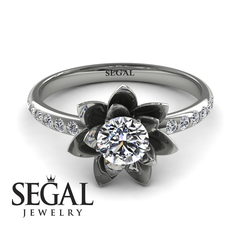 Lotus Flower Engagement Ring 14k White Gold 05 Carat Round Cut