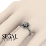 Pave Lotus Flower Engagement Ring - Lotus no. 3
