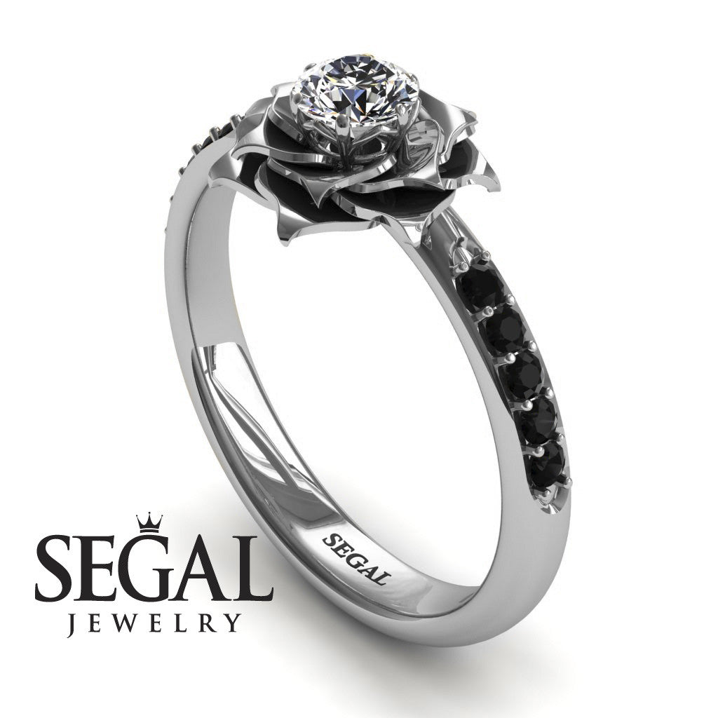 unique engagement ring - 14k white gold 0.25 carat round cut