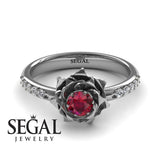 Rose Flower Engagement Ring - Elena no. 6