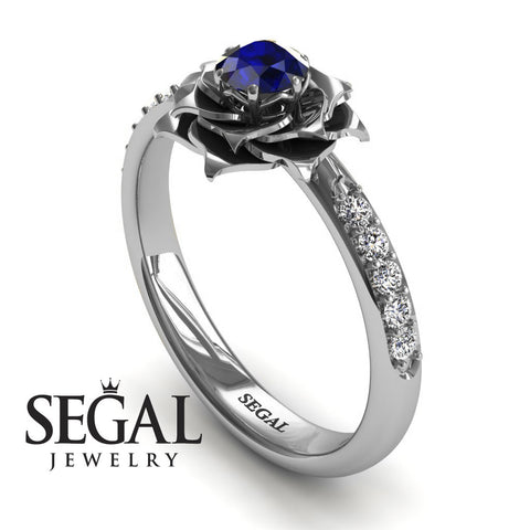 A lady's Rose Blue Sapphire Ring- Elena no. 9