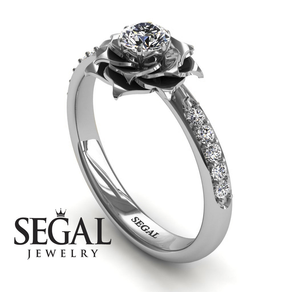 14k White Gold 025Ct round cut diamond delicate Rose engagement