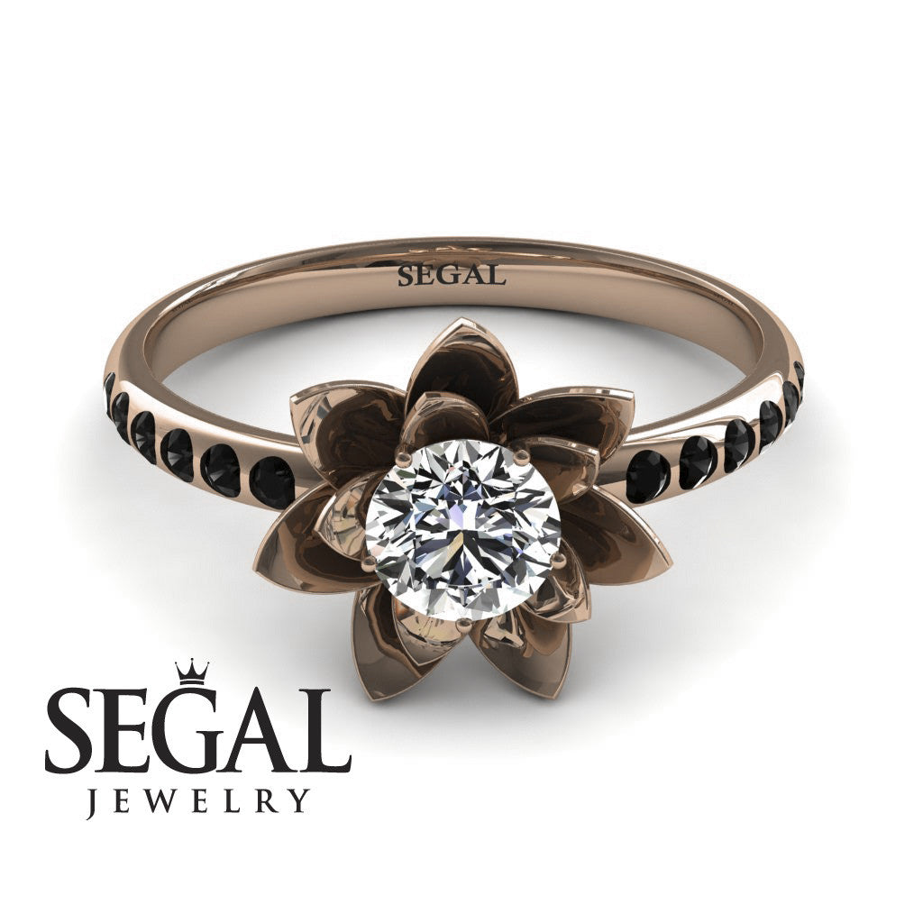 Lotus Flower Engagement Ring 14k Rose Gold 05 Carat Round Cut