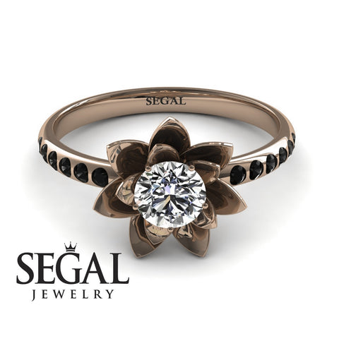 Lotus Flower Unique Engagement Ring - Lotus no. 11