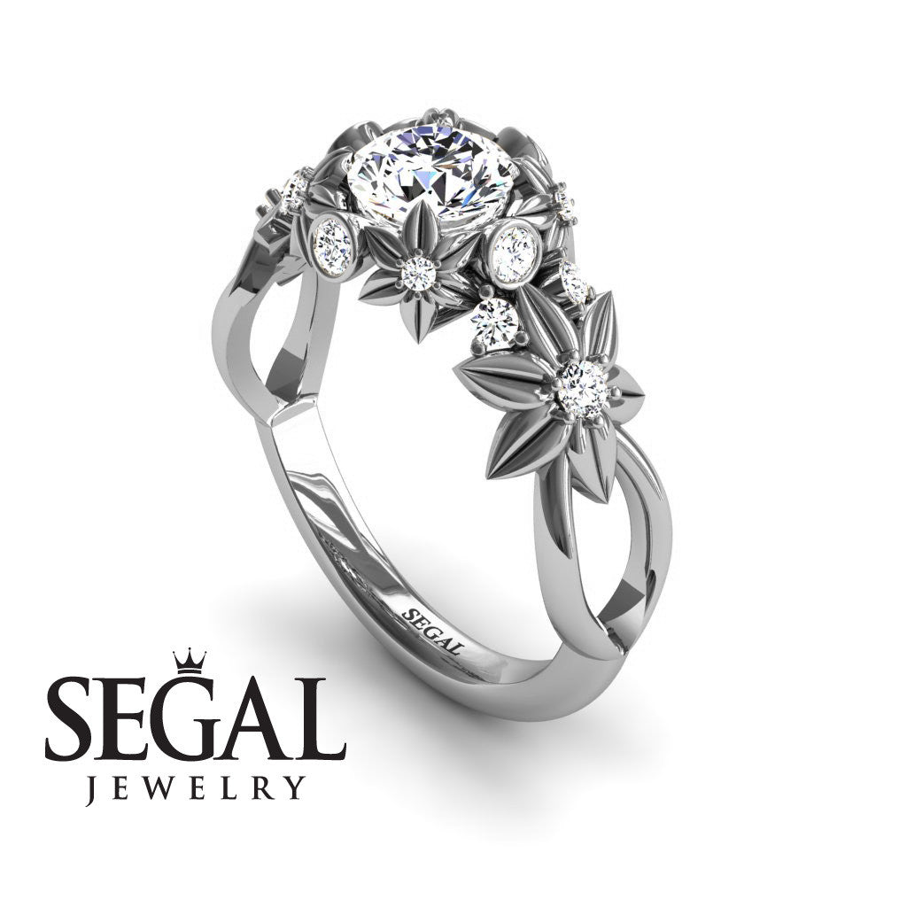nature inspired engagement ring - 14k white gold 0.84 carat round