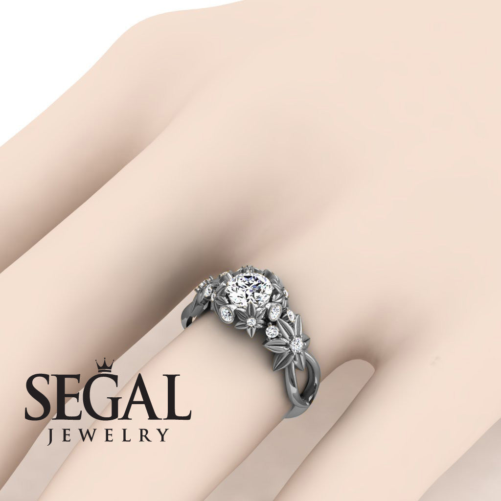 Nature Inspired Engagement Ring - 14K White Gold 0.84 Carat Round ...