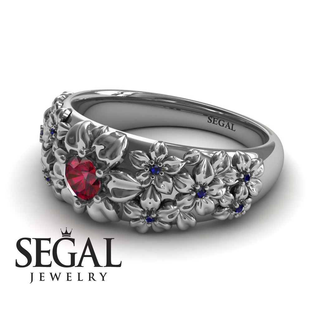 Art Deco Flower Engagement Ring - Violet no. 15