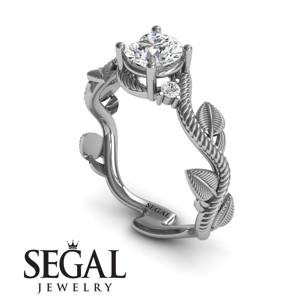 branch engagement ring - 14k white gold 0.84 carat round cut