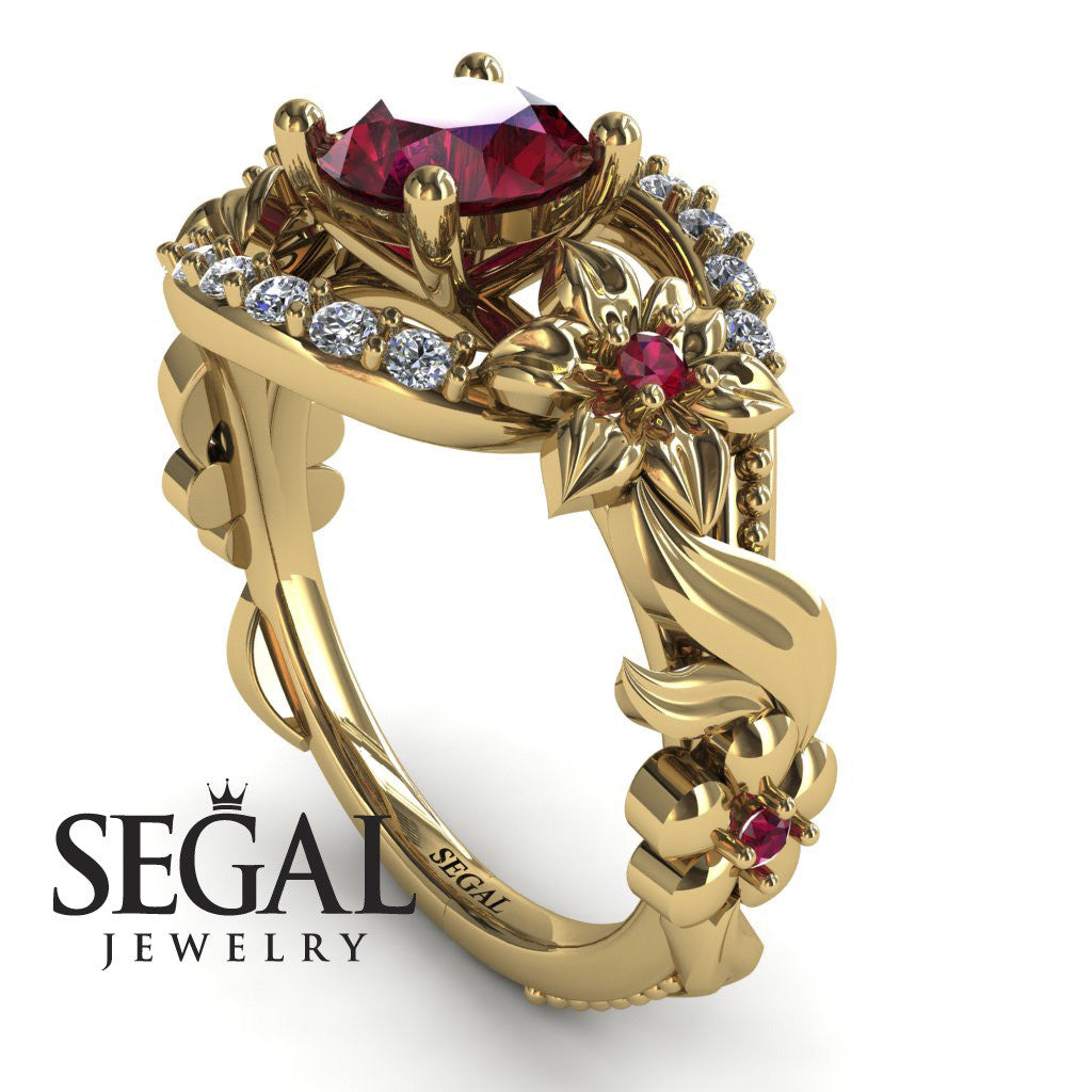 Spring Full With Flowers Ruby Ring - Layla no. 4