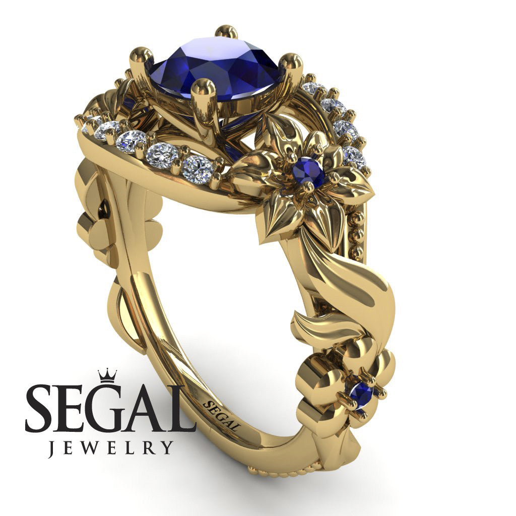 Spring Full With Flowers Sapphire Ring - 14K Yellow Gold - Layla no. 7