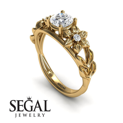 Leaf Floral Engagement Ring - Ella no. 1