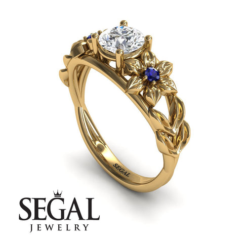 Leaf Floral Engagement Ring - Ella no. 7