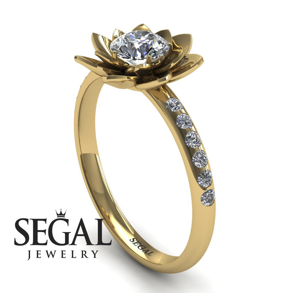 Flower Classic Engagement Ring - Lotus no. 1