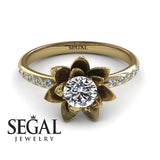 Flower Lotus Flower Engagement Ring - Lotus no. 1