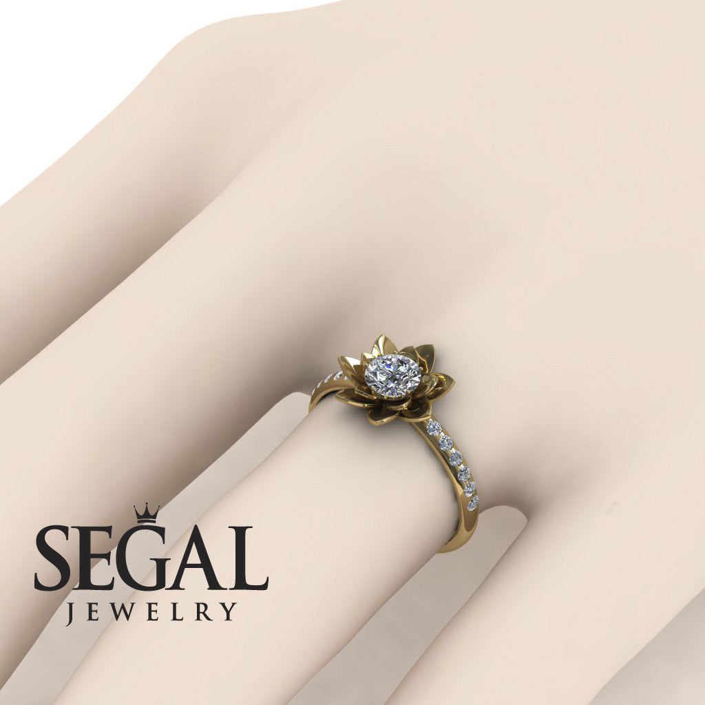 Pave Flower Engagement Ring - Lotus no. 1