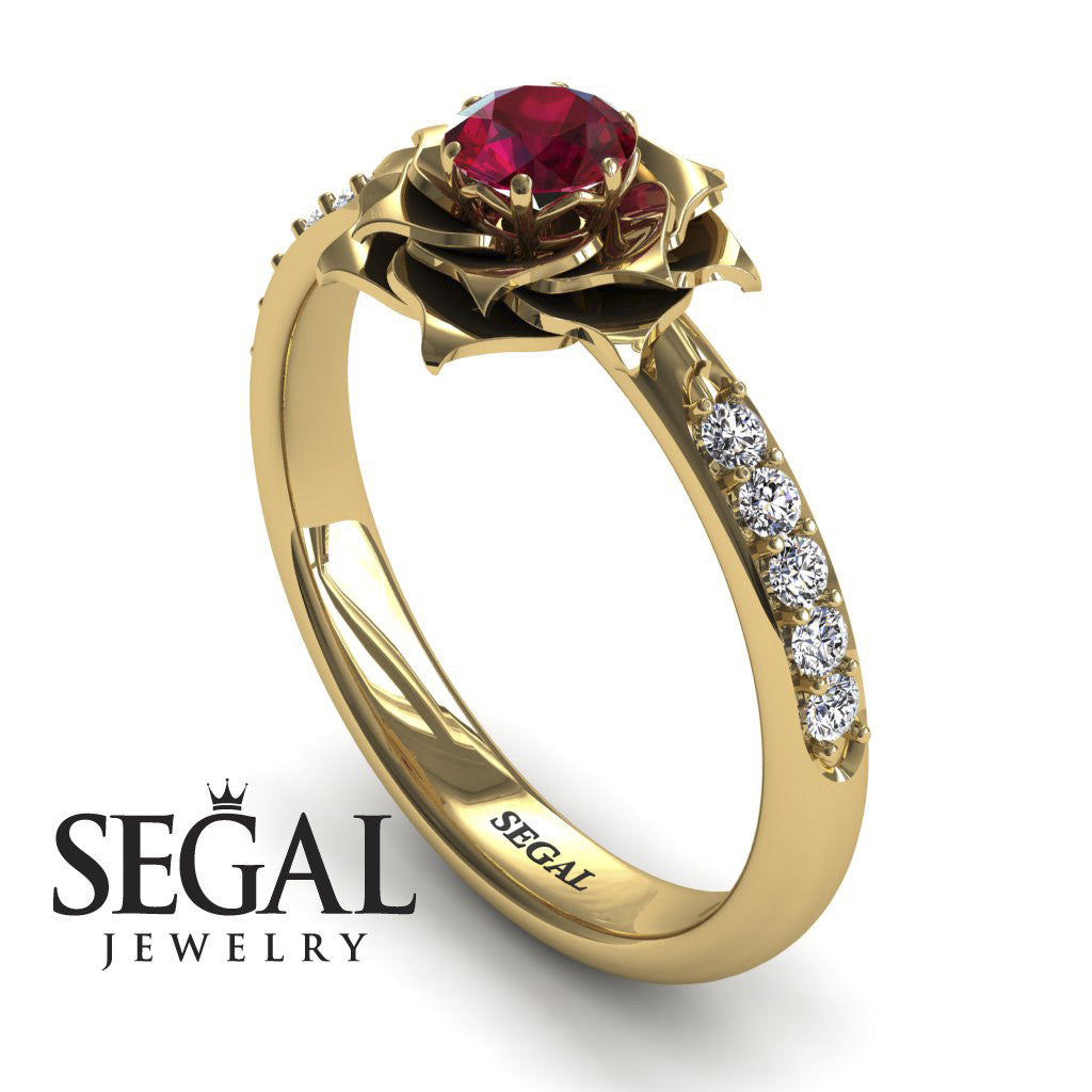 4 rose simple engagement ring elena no - Ruby Wedding Ring