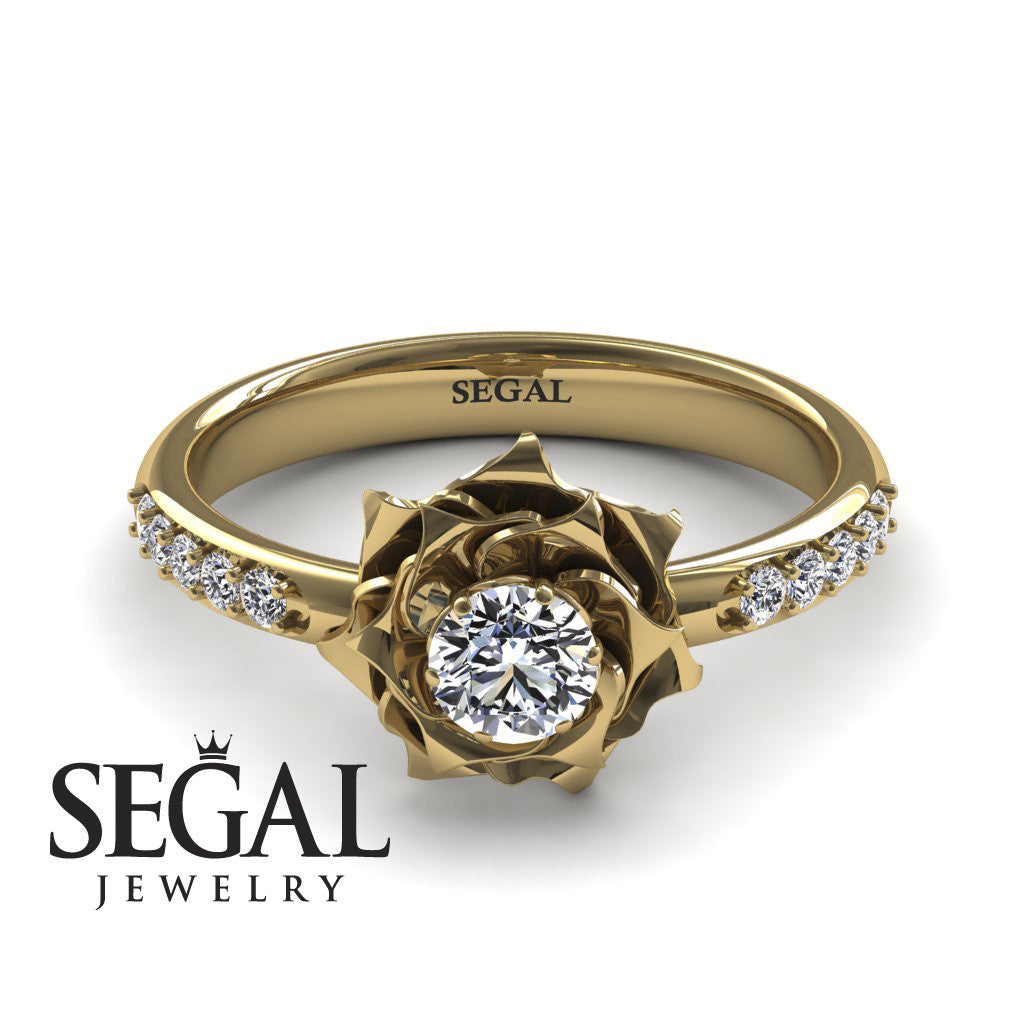 Unique Rose Flower Engagement Ring - Elena no. 1