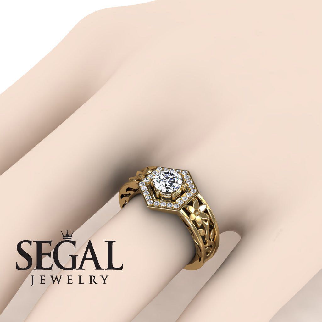 The Hexagon Flower Diamond Ring- Paisley no. 1