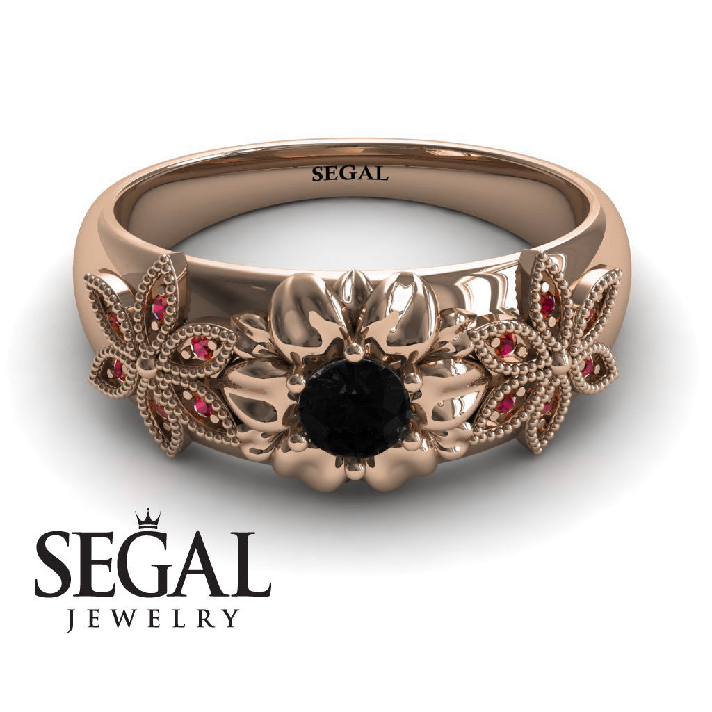 Middle Flower Spring Black Diamonds Ring- Emma no. 11