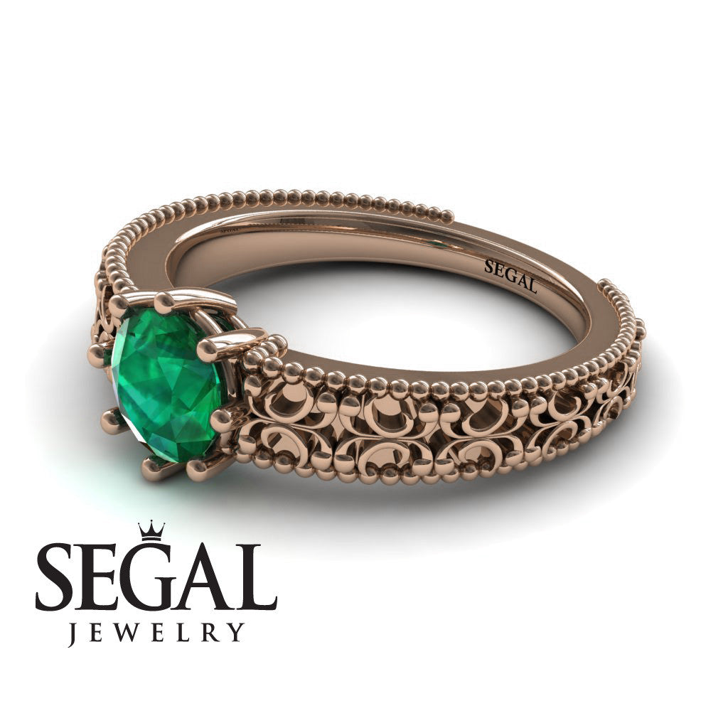 The Edwardian Arches Green Emerald Ring- Beatrice no. 11