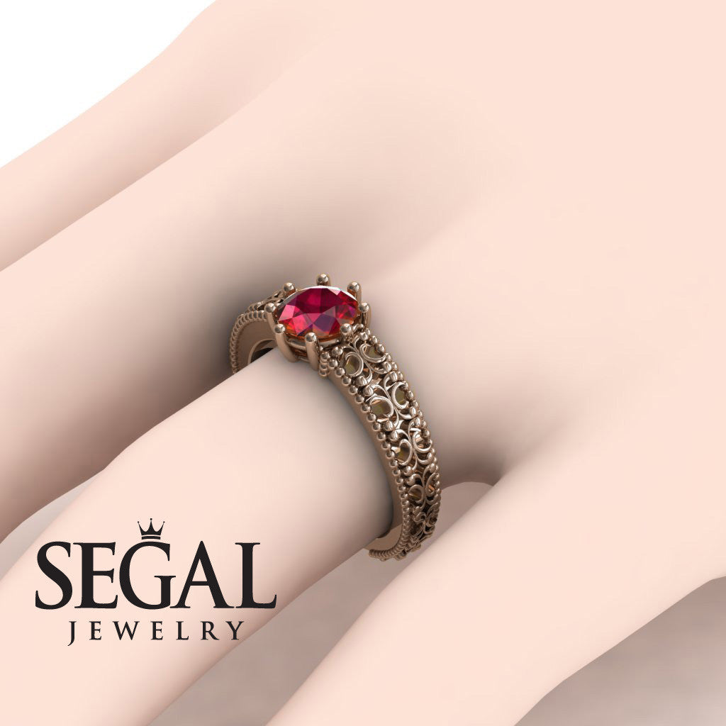 The Edwardian Arches Ruby Ring- Beatrice no. 5
