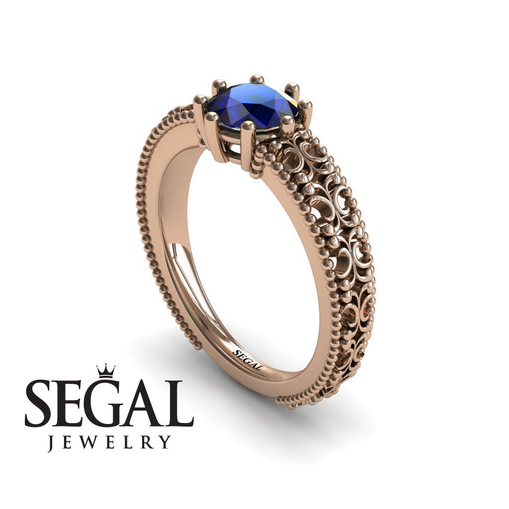 The Edwardian Arches Blue Sapphire Ring- Beatrice no. 8