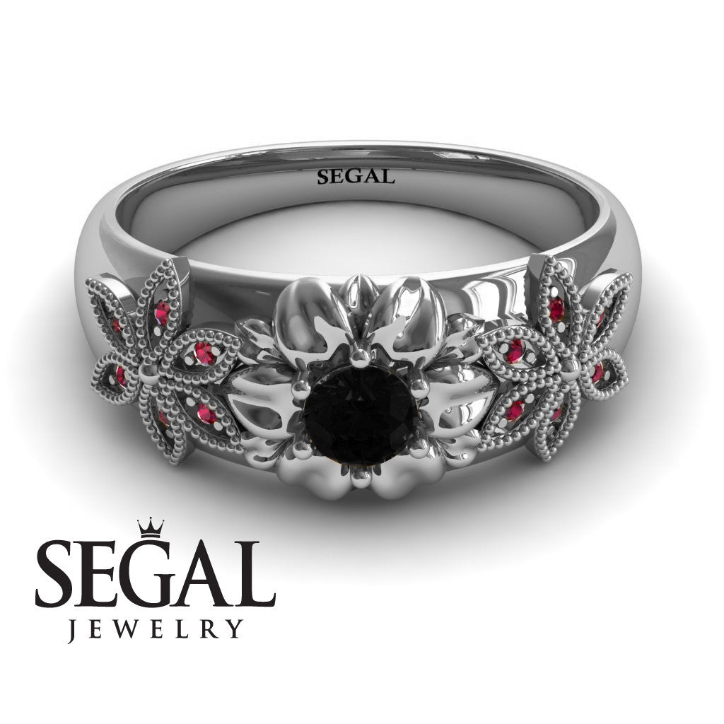 Middle Flower Spring Black Diamonds Ring- Emma no. 12