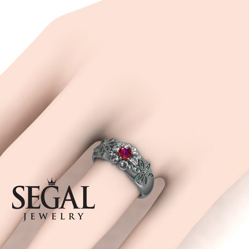 Middle Flower Spring Ruby Ring- Emma no. 6