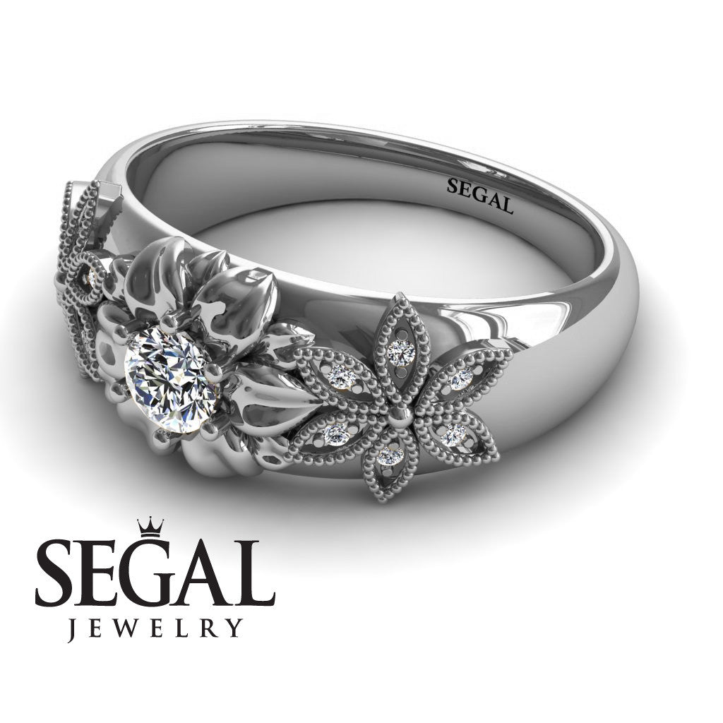 Middle Flower Spring Diamond Ring- Emma no. 3