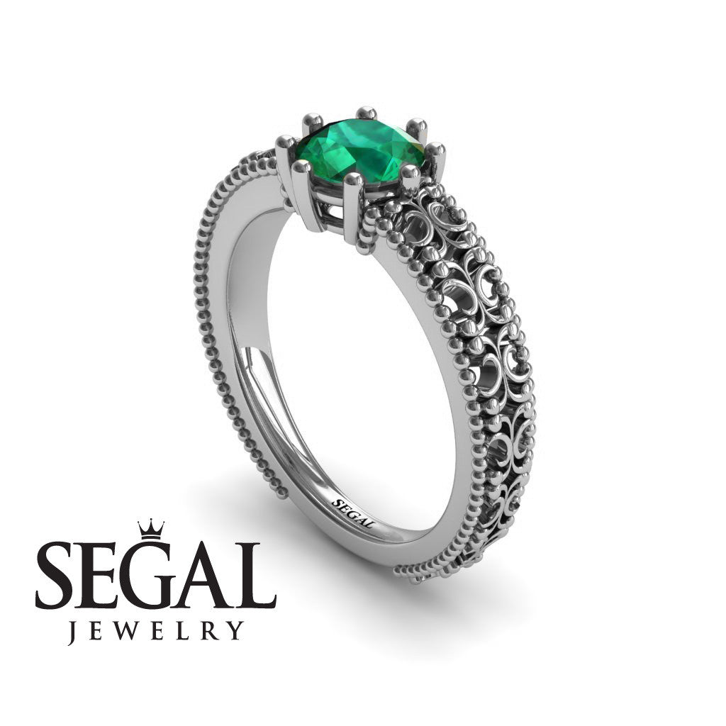 The Edwardian Arches Green Emerald Ring- Beatrice no. 12