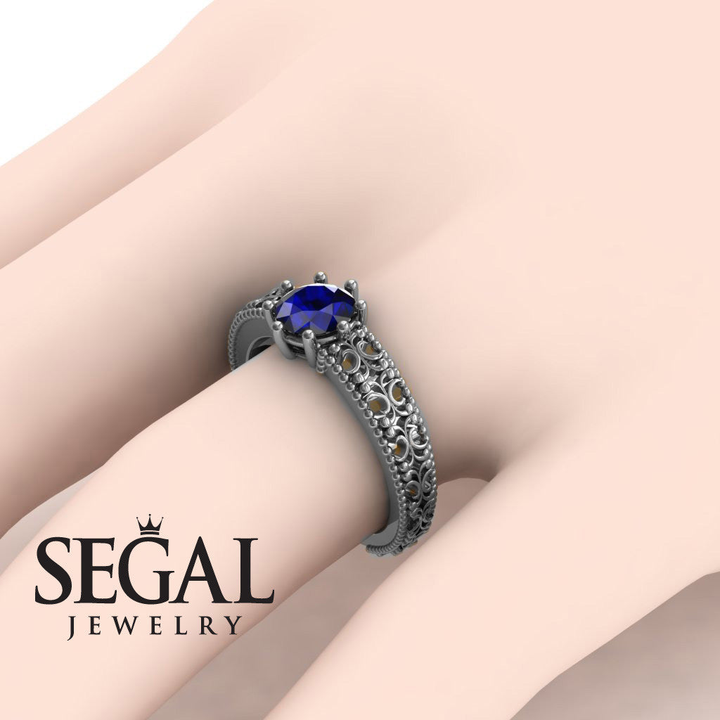 The Edwardian Arches Blue Sapphire Ring- Beatrice no. 9