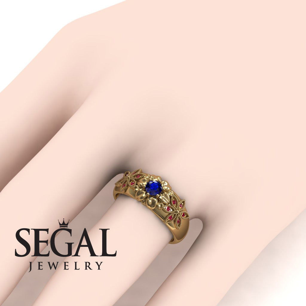 Middle Flower Spring Blue Sapphire Ring- Emma no. 7