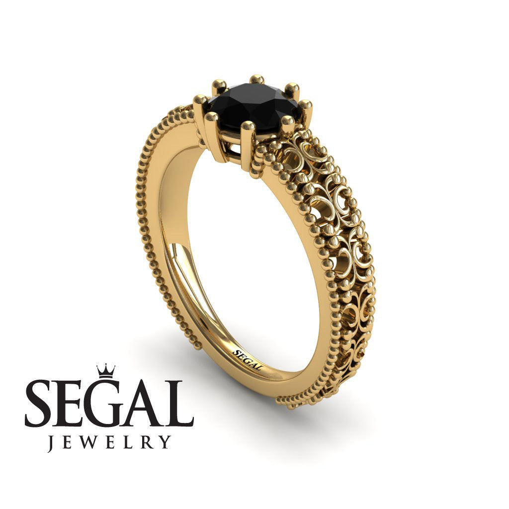 The Edwardian Arches Black Diamond Ring- Beatrice no. 13
