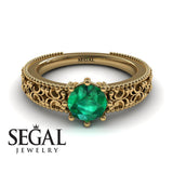 The Edwardian Arches Green Emerald Ring- Beatrice no. 10