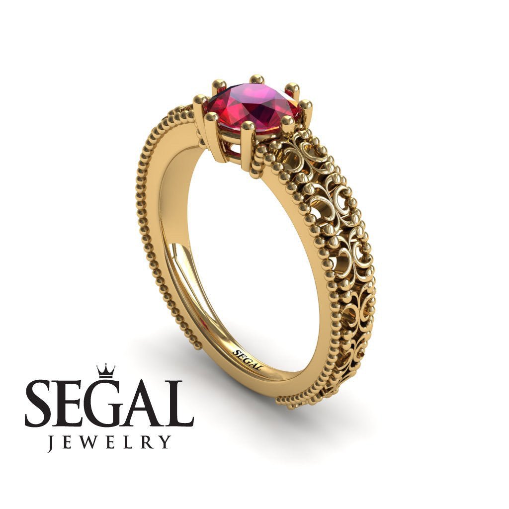 The Edwardian Arches Ruby Ring- Beatrice no. 4