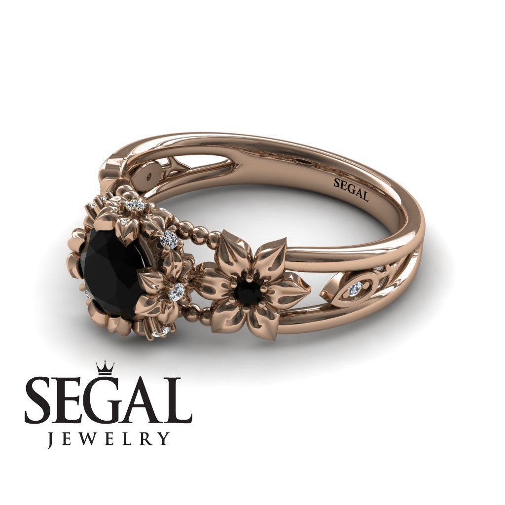 Flower and Leafs Powerhouse Ring Black Diamond Ring- Mackenzie no. 5