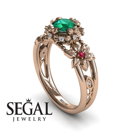 Flower and Leafs Powerhouse Ring Green Emerald Ring- Mackenzie no. 11