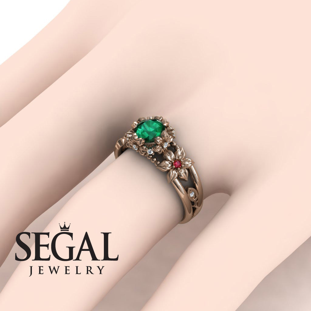 Bridal Set Flower and Leafs Powerhouse Ring Green Emerald Ring- Mackenzie no. 11