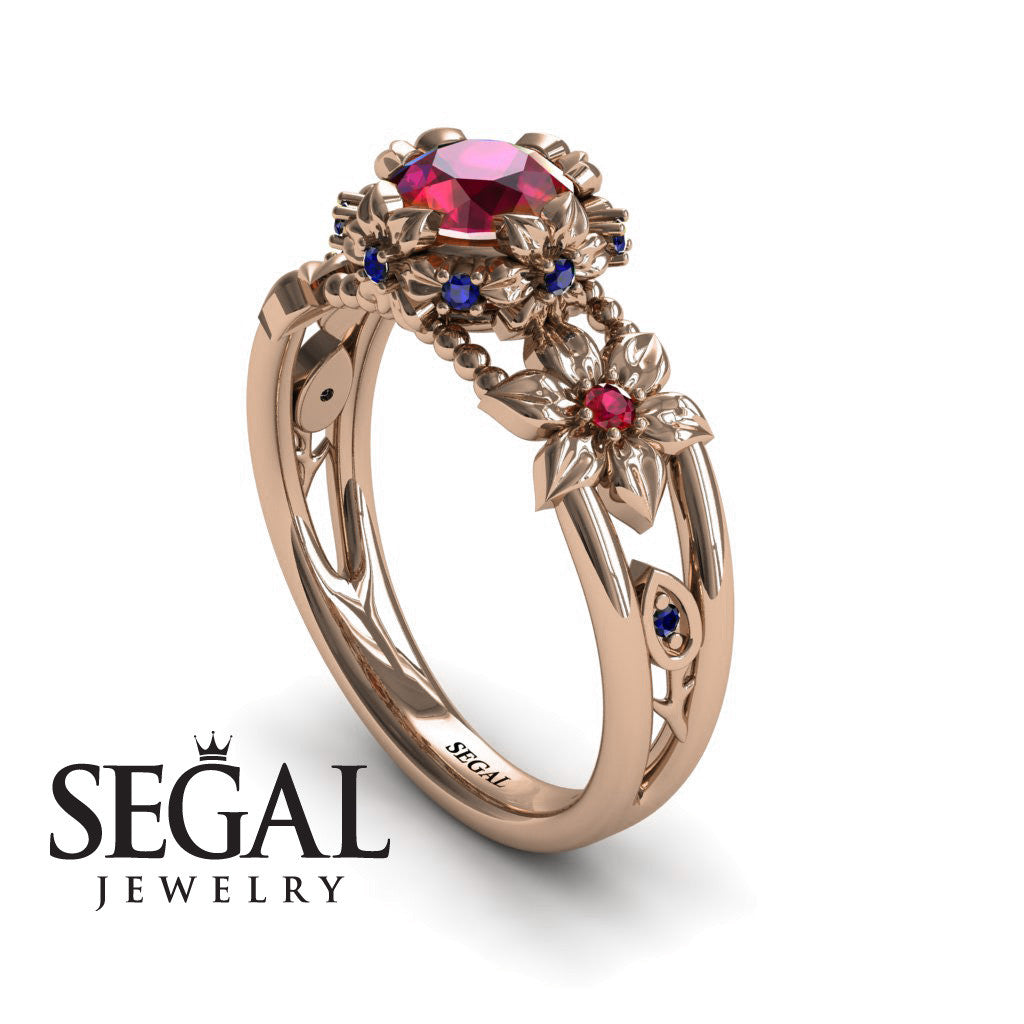 Ruby And Diamond Two Flower Ring
