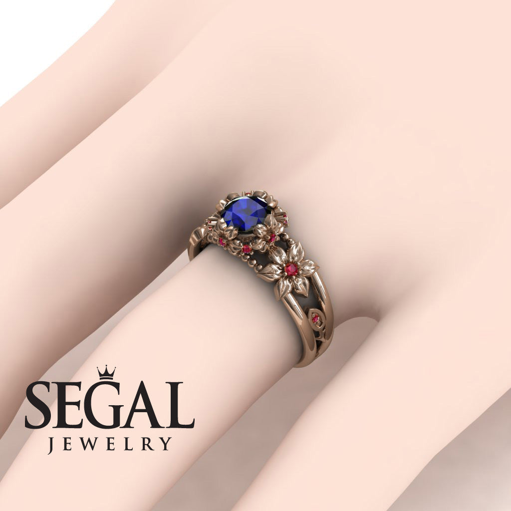 Flower and Leafs Powerhouse Ring Blue Sapphire Ring- Mackenzie no. 14