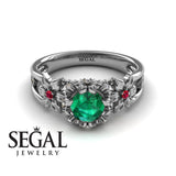 Flower and Leafs Powerhouse Ring Green Emerald Ring- Mackenzie no. 12