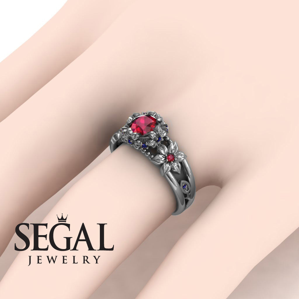 Flower and Leafs Powerhouse Ring Ruby Ring- Mackenzie no. 9