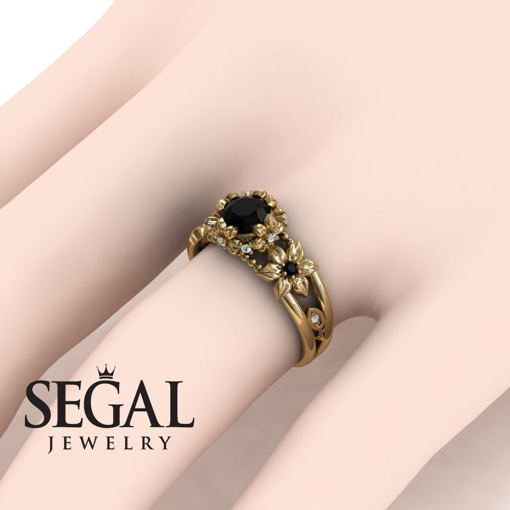 Flower and Leafs Powerhouse Ring With Natural Black Diamond Ring- Mackenzie no. 4