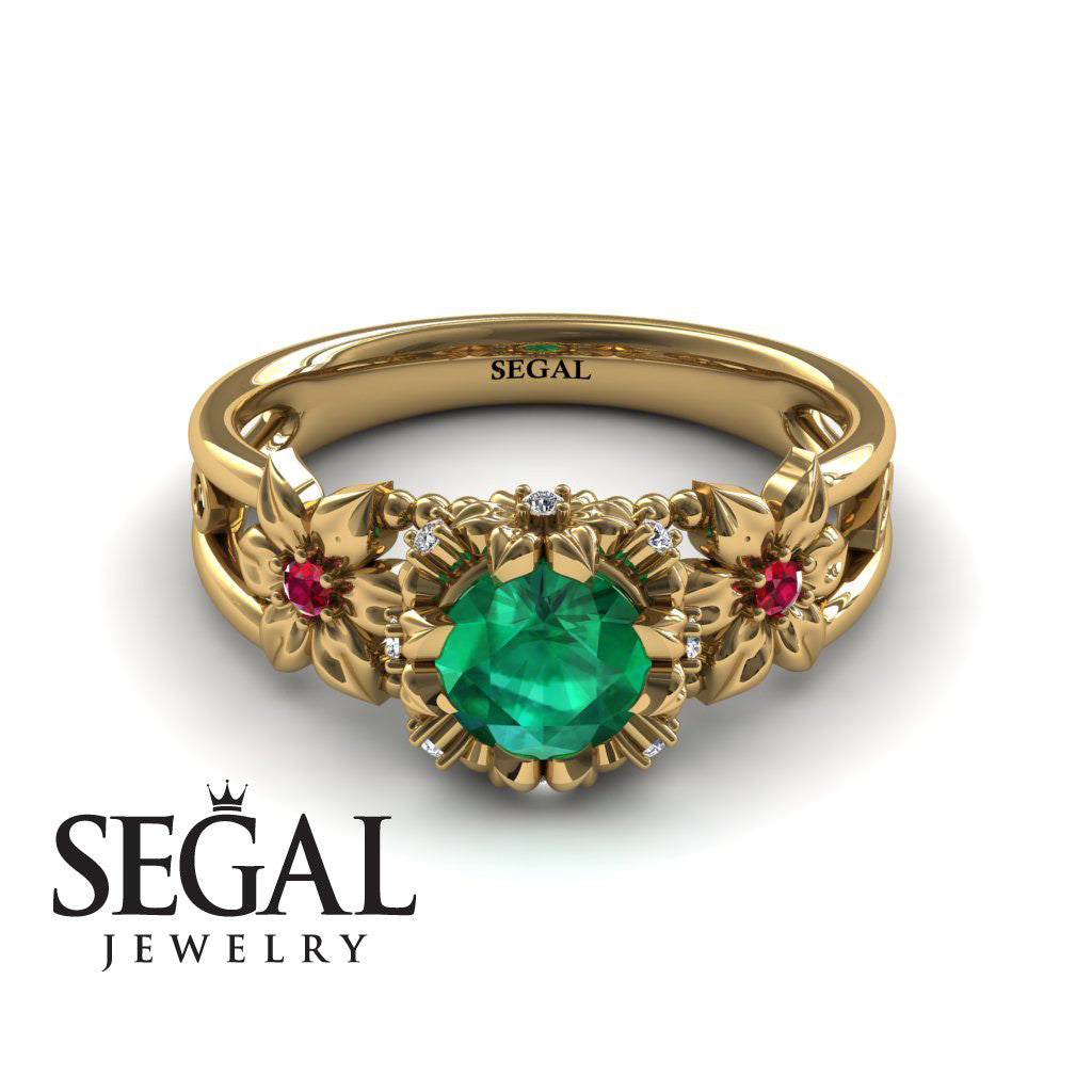 Flower and Leafs Powerhouse Ring Green Emerald Ring- Mackenzie no. 10