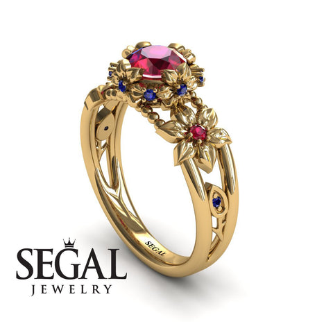 Flower and Leafs Powerhouse Ring Ruby Ring- Mackenzie no. 7