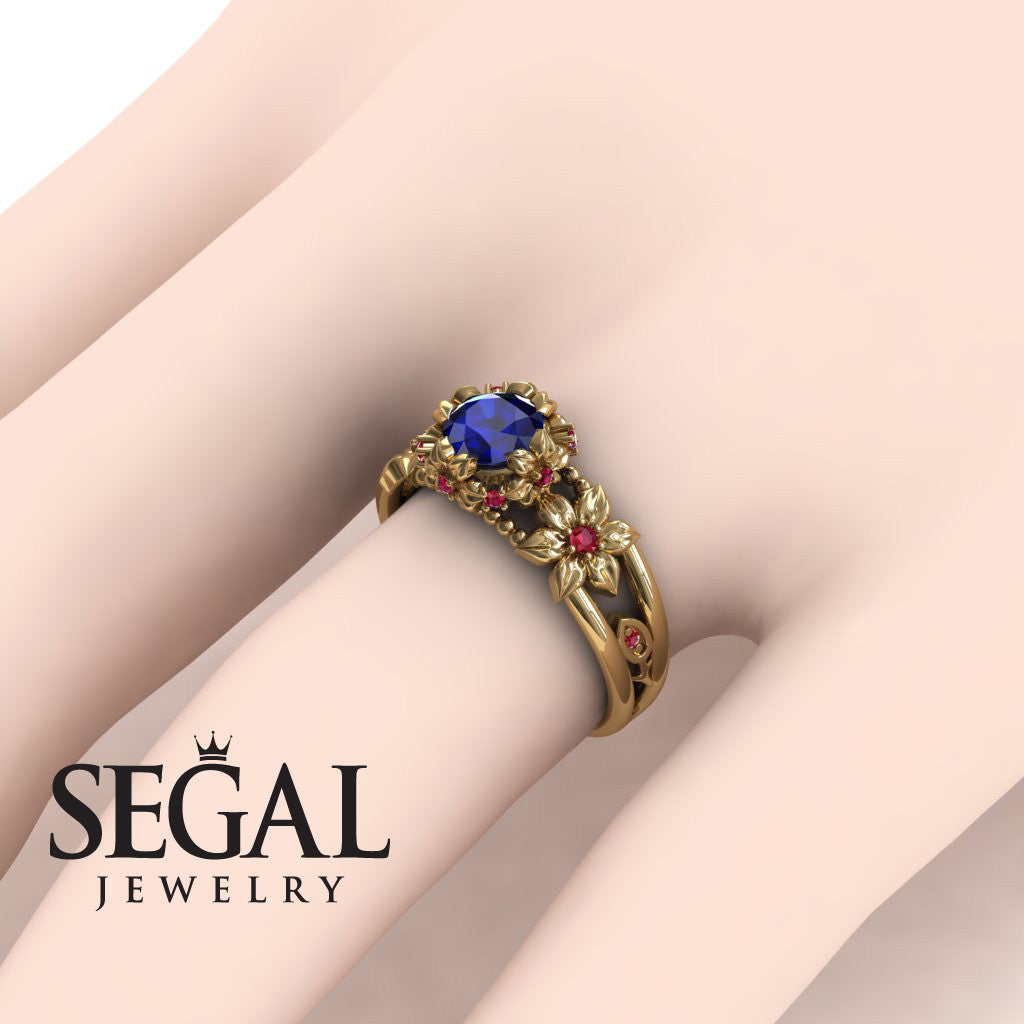 Flower and Leafs Powerhouse Ring Blue Sapphire Ring- Mackenzie no. 13
